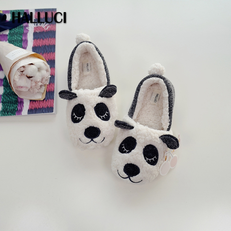 HALLUCI Cute berber Fleece panda Home Slippers shoes woman flats indoor lovely Cartoon animal cotton Slippers for women loafers 2017 totoro plush slippers with leaf pantoufle femme women shoes woman house animal warm big animal woman funny adult slippers