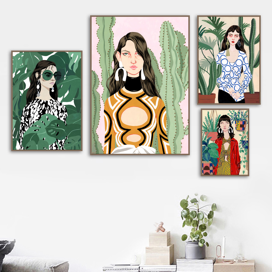 Watercolor Fashion Girl Fresh Plant Leaf Wall Art Canvas Painting Nordic Posters And Prints Wall Pictures For Living Room Decor