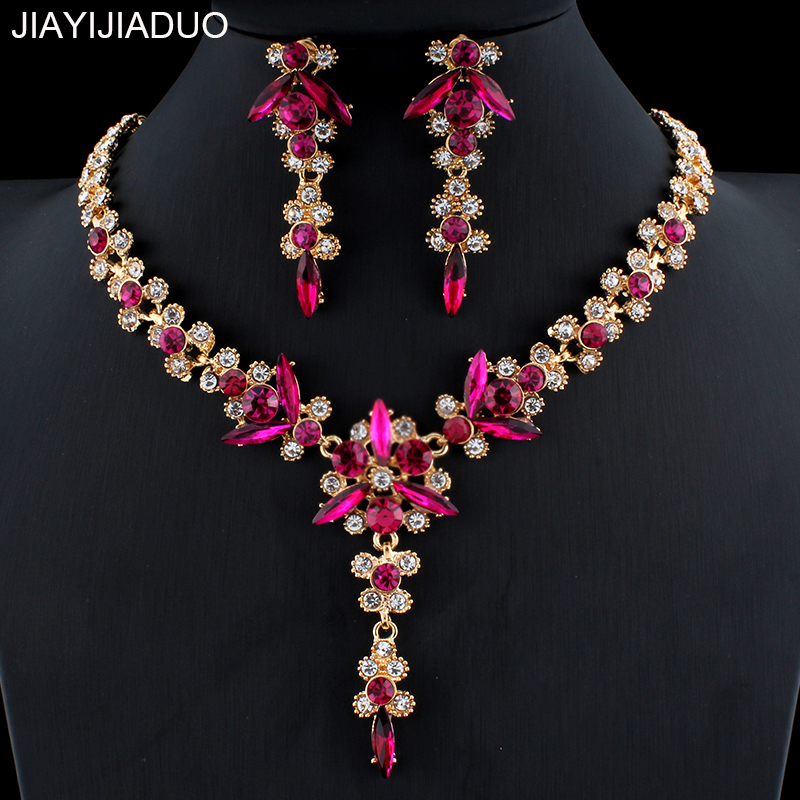 jiayijiaduo 5 colors new crystal wedding jewelry set women gold color necklace long earrings set dress accessories bridesmaid(China)