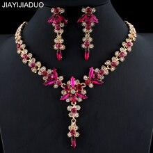 Jiayijiaduo, 5 цветов, кристалл, свадебный ювелирный набор для женщин, золотой цвет, ожерелье, длинные серьги, набор, платье, аксессуары для подружки невесты