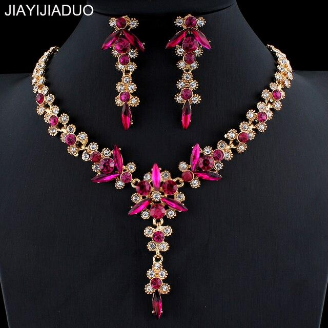 Jiayijiaduo 5 צבעים חדש קריסטל כלה תכשיטי סט נשים זהב צבע שרשרת ארוך עגילי סט אביזרי שמלת שושבינה