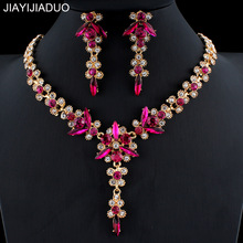 US $3.84 46% OFF|jiayijiaduo 5 colors new crystal wedding jewelry set women gold color necklace long earrings set dress accessories bridesmaid-in Bridal Jewelry Sets from Jewelry & Accessories on Aliexpress.com | Alibaba Group