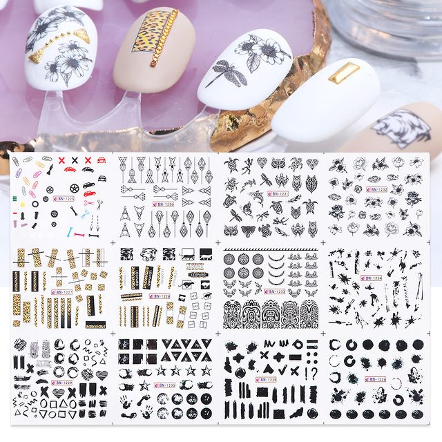 12pcs Black Line Sexy Girl Nail Decals Writing Letter Tattoos Sliders Nail Art Water Transfer Stickers Manicure TRBN1237-1248-1