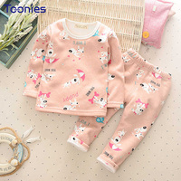 Boys And Girls Pajamas Soft Cashmere Kids Underwear Cute Cartoon Printed Child Sleepwear Thick Cotton 2018