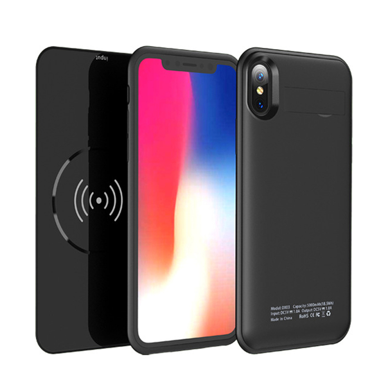 Wireless charger Battery case For iphone X 5000mAh Rechargeable Extended Backup Power Bank Charging , support headphones