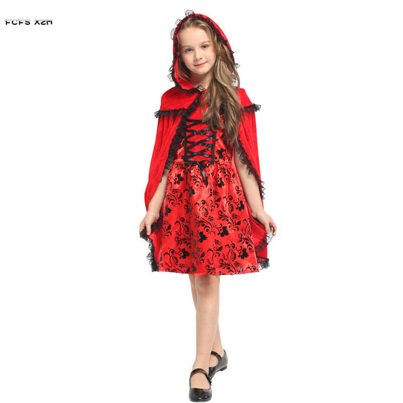 M-XL Girls Halloween Little Red Riding Hood Costumes Kids Children Anime Cosplay Carnival Purim Christmas Masquerade party dress