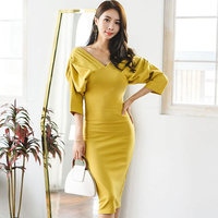 2018 Autumn 3/4 Sleeve Bat Sleeve V Neck Sexy Bodycon Vestidos Pencil Knee Length Yellow Solid Party Dress