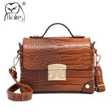 UKQLING Vintage Frauen Messenger Bags Alligator Muster Flap Designer-handtasche Hohe Qualität Stamm Umhängetasche Dame Handtasche