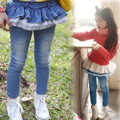 Primavera e outono longas calças de brim calças do bebê da menina da criança do sexo feminino folha de lótus saia jeans calças legging Culottes
