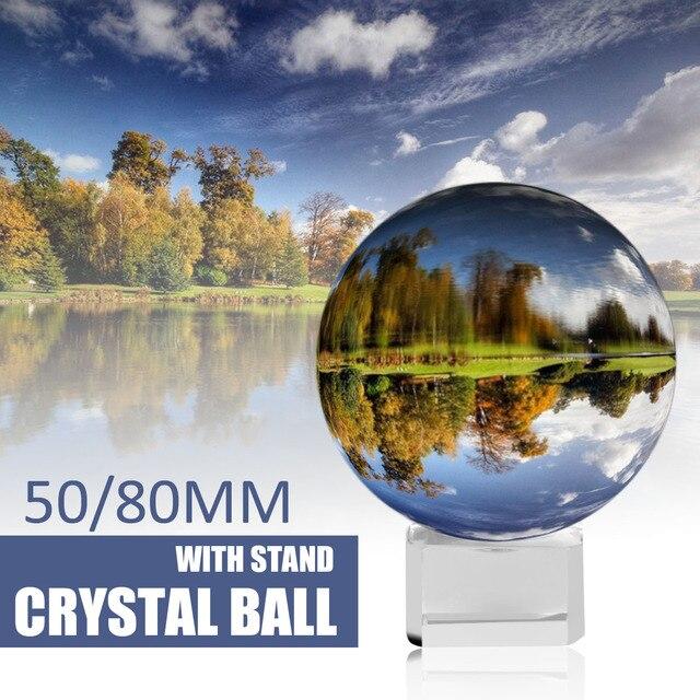 Кристальные шарики-сферы 50 мм 80 мм с подставкой 2 фотографии Lensball фон Декор K9 стекло кристально чистый объектив мяч