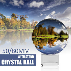 Crystal Ball Sphere 50mm 80mm with Stand 2 Photography Lensball Background Decor K9 Glass Crystal Clear Lens Ball