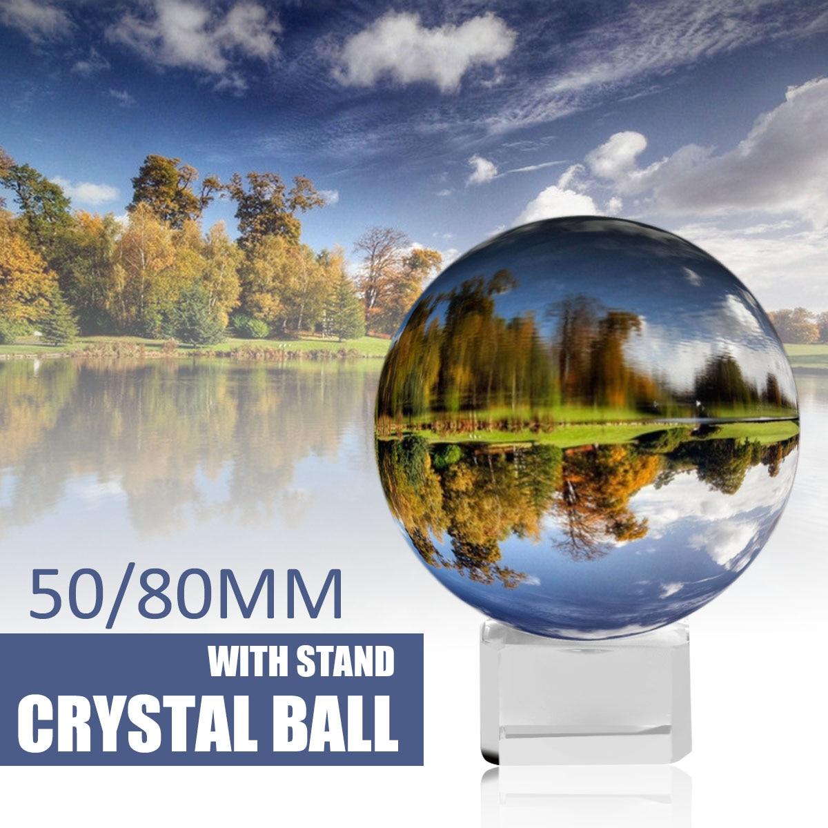 Kristall Ball Kugel 50mm 80mm mit Stand 2 Fotografie Lensball Hintergrund Decor K9 Glas Kristall Klar Objektiv Ball