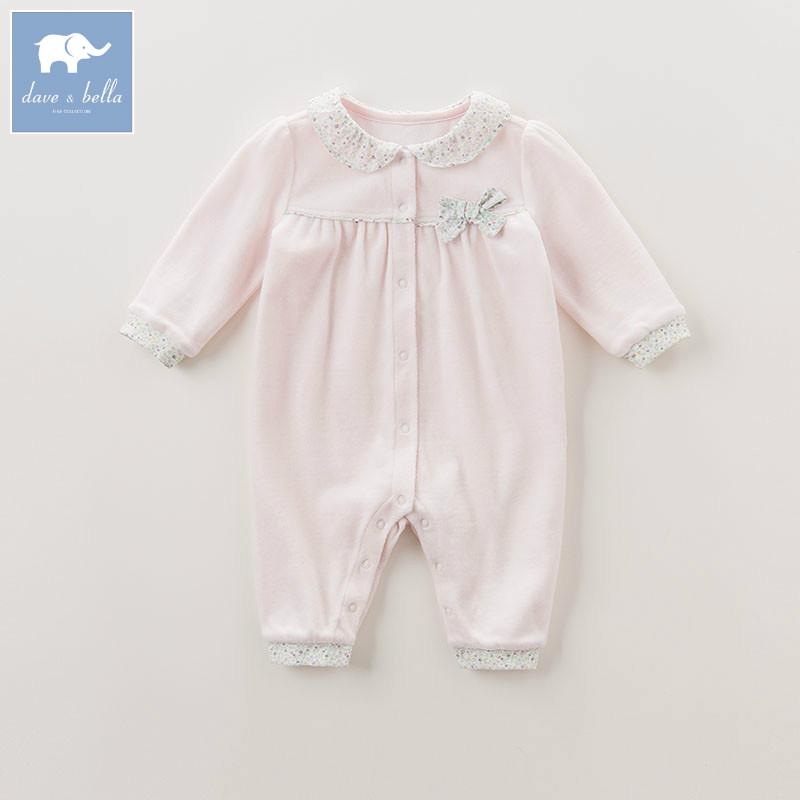 DB6046 dave bella autumn new born baby girls cotton romper infant clothes girls cute romper baby 1 piece db5033 dave bella summer new born baby unisex rompers cotton infant romper kids lovely 1 pc children romper