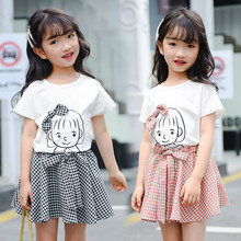 2019 Girls Fashion Clothing Sets Kids Children Summer Baby Girl Clothes Set Cotton Cartoon Tshirt + Plaid Skirt 2PCS Sister