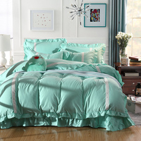 Korean style bedding set Bedding sets for girls Queen size Blue Pink Yellow Duvet cover Bed sheet set pillowcases