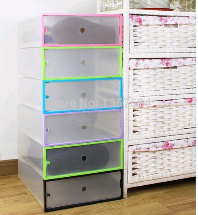 1pcs Lot Simple Folding Drawer Clear Shoe Storage Box Big Transparent Plastic Color