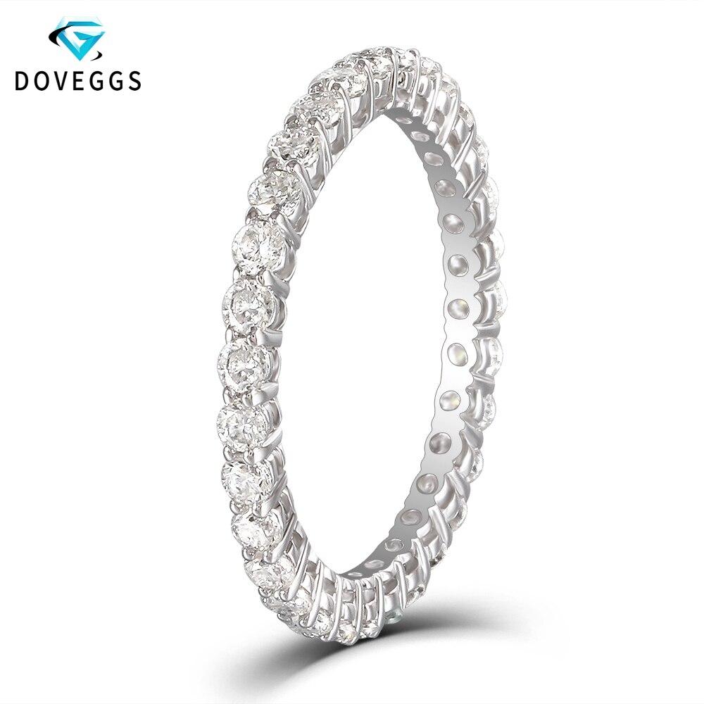 DovEggs Classic 10K White Gold 1ctw 2mm Brilliance Moissanite Diamond Engagement Ring For Women Eternity Bridal