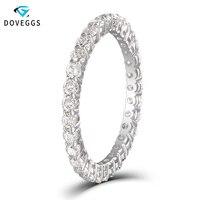 DovEggs классический 10 К к белого золота 1ctw 2 мм блеск синтетический бриллиант обручение кольцо для женщин вечность Свадебные обручальные коль