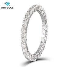 DovEggs klasyczne 10K białe złoto 1ctw 2mm blask Moissanite diamentowy pierścionek zaręczynowy dla kobiet wieczność ślubne obrączki