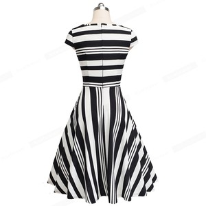 Image 4 - Nice forever Vintage Stripe Print Casual Summer vestidos Business Party A Line Swing Flare Women Dress btyA153