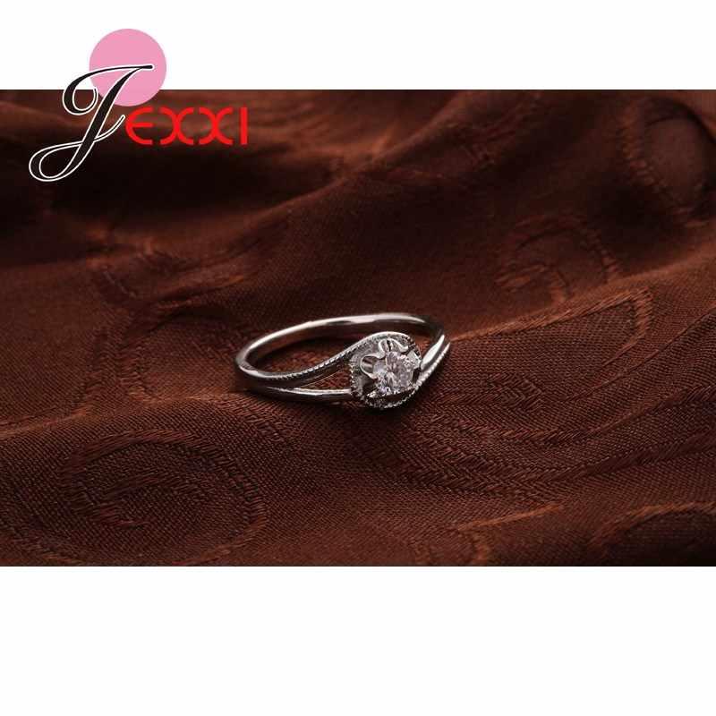 Trendy Hochzeit Schmuck Für Braut Hohe Qualität Gestempelt Silber Ringe Mit CZ Zirkonia Frauen Geburtstag Besten Geschenke