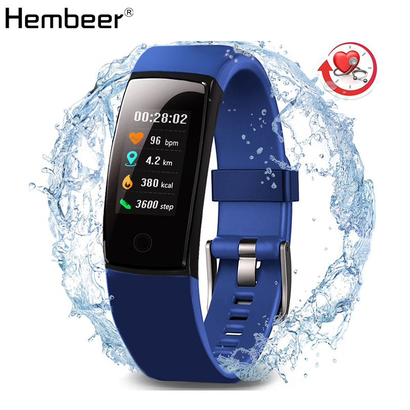 9dd5b87483bf Hembeer V10 Monitor de presión arterial pulsera inteligente Monitor de  ritmo cardíaco reloj de Fitness cuenta regresiva cronómetro reloj corriendo  ...