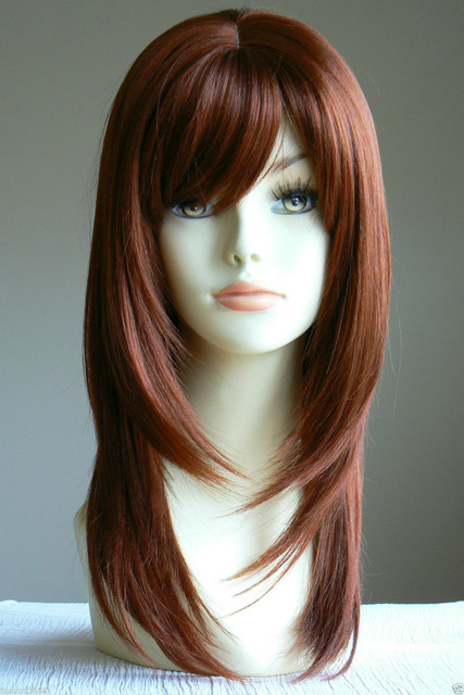 Long Straight Copper Red Layered salon Lady Wig Kanekalon Blonde Lady Salon Hair Style no Lace Front queen brazilian made wigs