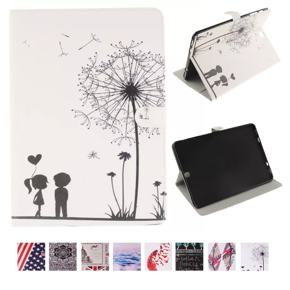 Painting Cover TPU Leather Case for Samsung Galaxy Tab S2 9.7 Flip Book Style Stand Shell For Funda Samsung Tab S2 9.7 T815 T810 wefor cover silicon leather case for samsung galaxy tab a 9 7 sm t550 t555 flip book style stand w card holder [painting]