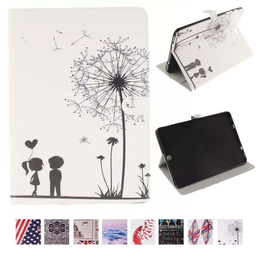 Peinture Couverture TPU Cas En Cuir pour Samsung Galaxy Tab S2 9.7 Flip Style Book Stand Shell Pour Funda Samsung Tab S2 9.7 T815 T810