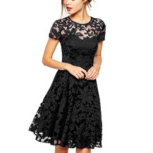 EFINNY Women Floral Lace Dresses Short Sleeve Party Casual Mini Dress