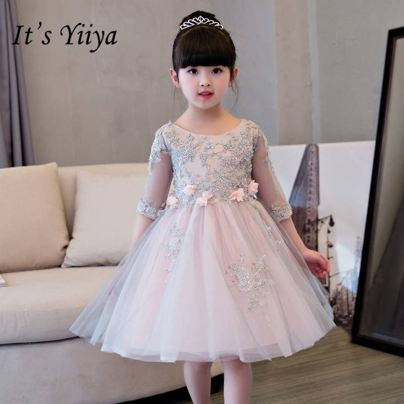It's yiiya Elegant Half Sleeve   Flower     Girl     Dresses   O-neck Ball Gown Pink   Girl     Dress   TS240