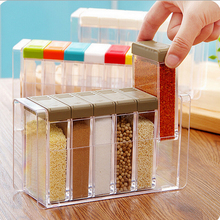 Transparent Russia flavor Spice jar seasoning jar kitchen condiment box acrylic seasoning Box Storage Box Cruet 6pcs/set AU029