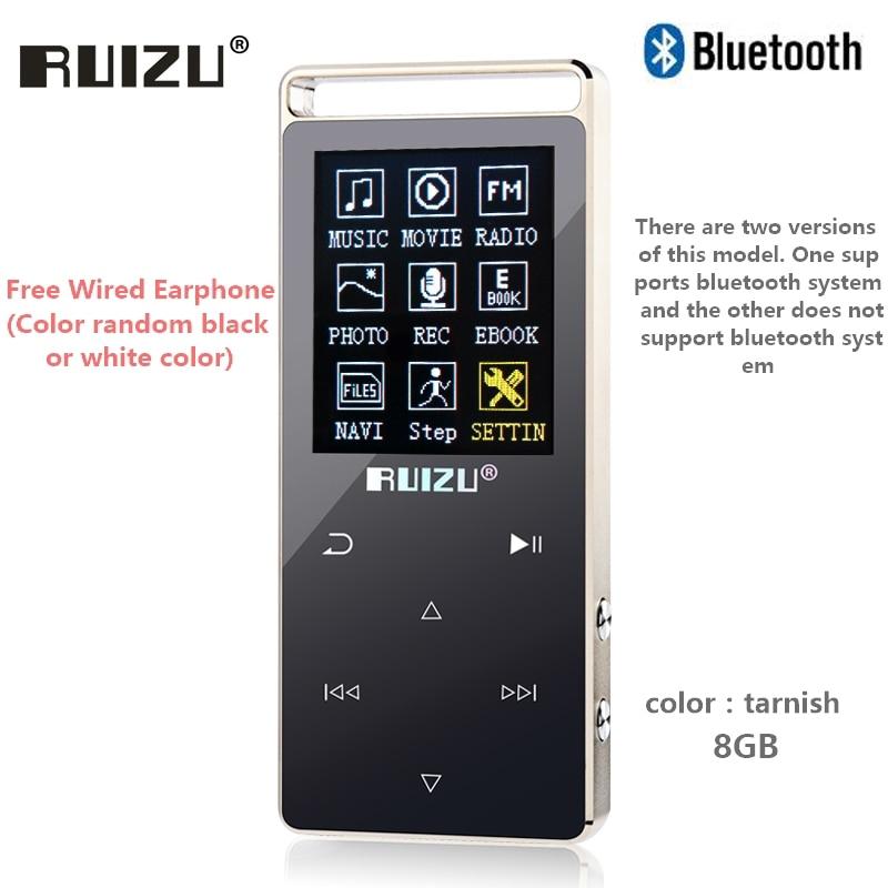 Original RUIZU D01 bluetooth MP3 Player 8 gb Touch Screen 1,8 zoll Voice recorder FM E-buch Uhr Video USB MP3 musik-Player