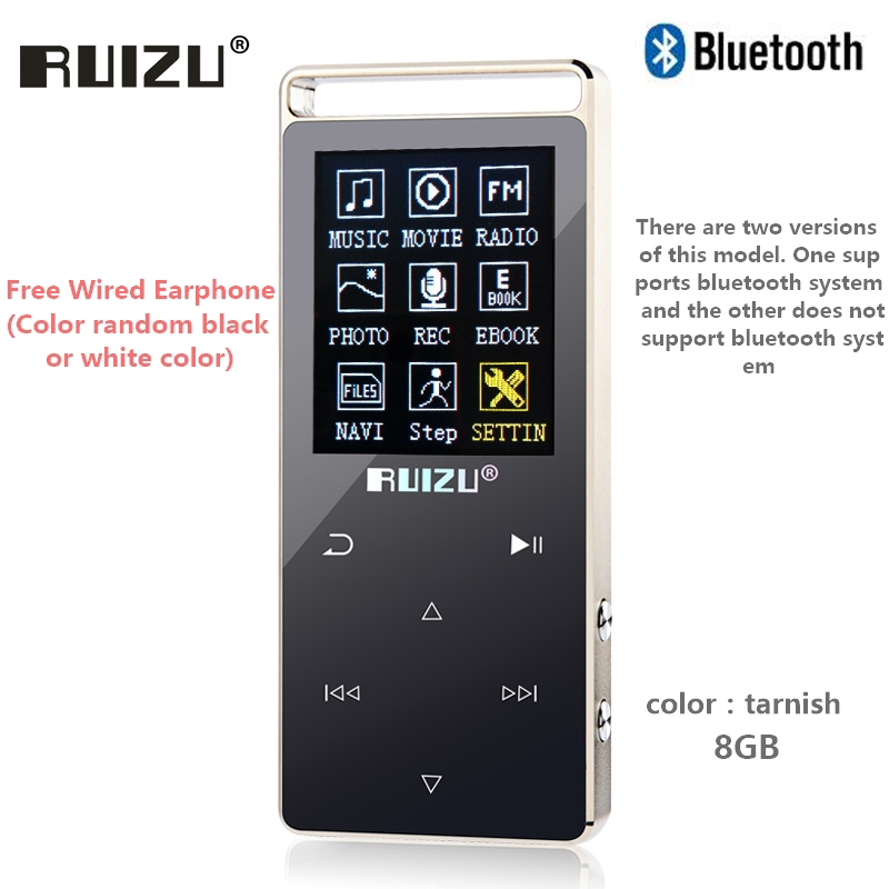 Original RUIZU D01 bluetooth MP3 Player 8GB Touch Screen 1.8 Inch Voice recorder FM E-Book Clock Video USB MP3 Music Player original ruizu x02 mp3 8gb untrathin protable mp3 player 80hours play music player with 1 8inch screen fm e book clock recorder