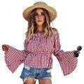 H.SA Spring Summer Korean Layers Ruffles Long Sleeve Shirts Blouses Women Fashion New Slash Neck Plaid Shirts Sexy Short Tops