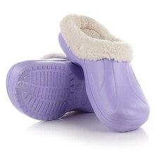 1 Pair Women Eco Slip-on Warm Winter Fur Garden Shoes Clog Indoor  Casual Home Slippers EVA Flat Footwear Good Quality