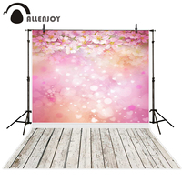 Allenjoy Photography Backdrops Pink Flower Wood Bokeh Background Photography Backdrop For Photo Studio Send Rolled