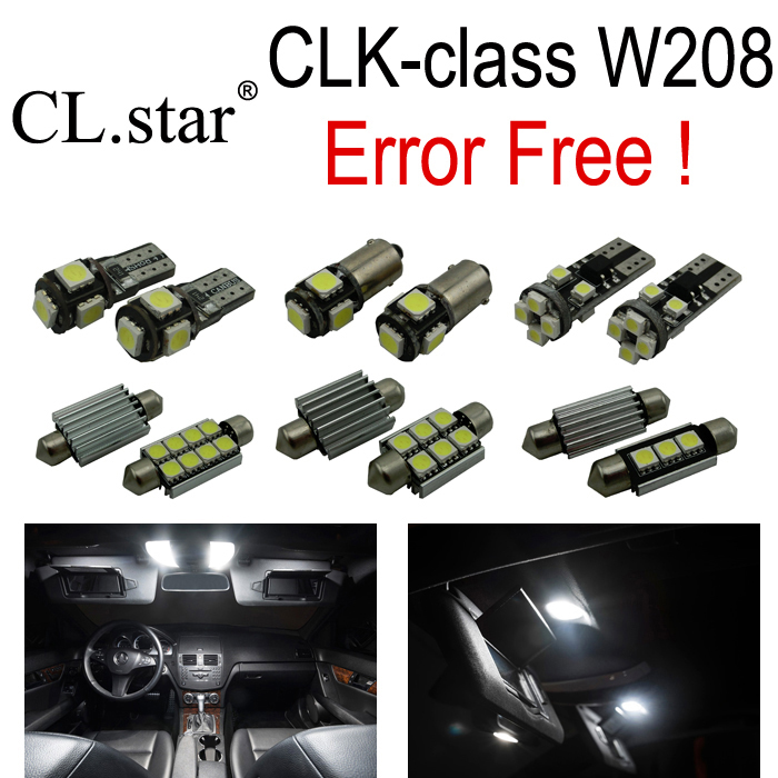 14pcs Error free LED lamp interior dome Light Kit For Mercedes Benz CLK W208 CLK320 CLK430 Coupe Convertible (98-02) wireless control rgb color interior under dash floor accent ambient light for mercedes benz clk mb c208 a208 c209 a209 c207 a207