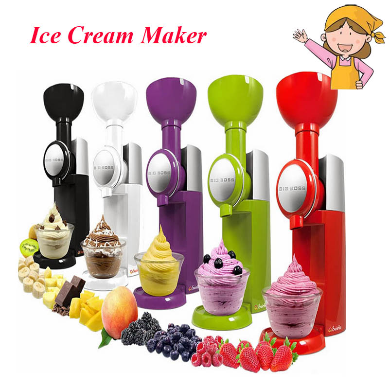 1pc 2016 High Quality Frozen Fruit Dessert Ice Cream Maker Machine Household Colorful Ice Shakes/ Crusher