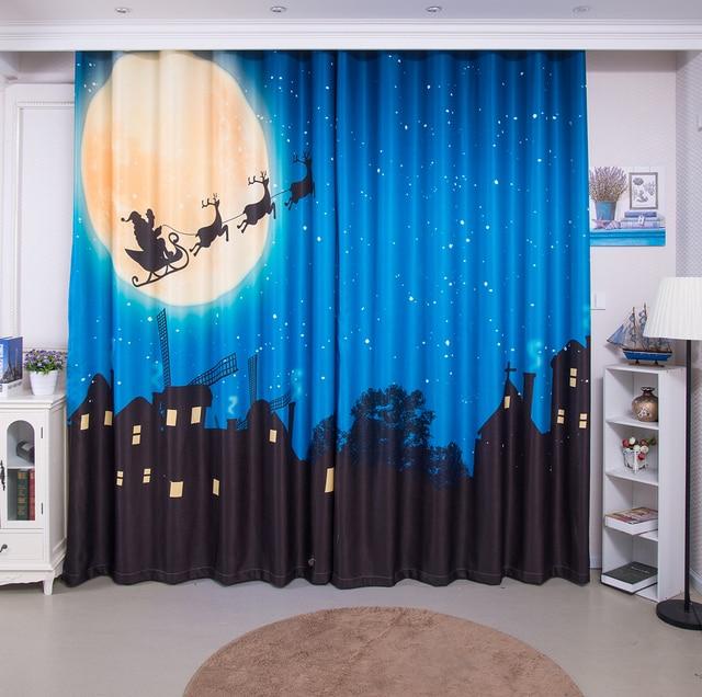 2pcs Halloween Christmas Curtain Decorations Props NightSky Santa Printed Blackout Home Decor Xmas Event Party