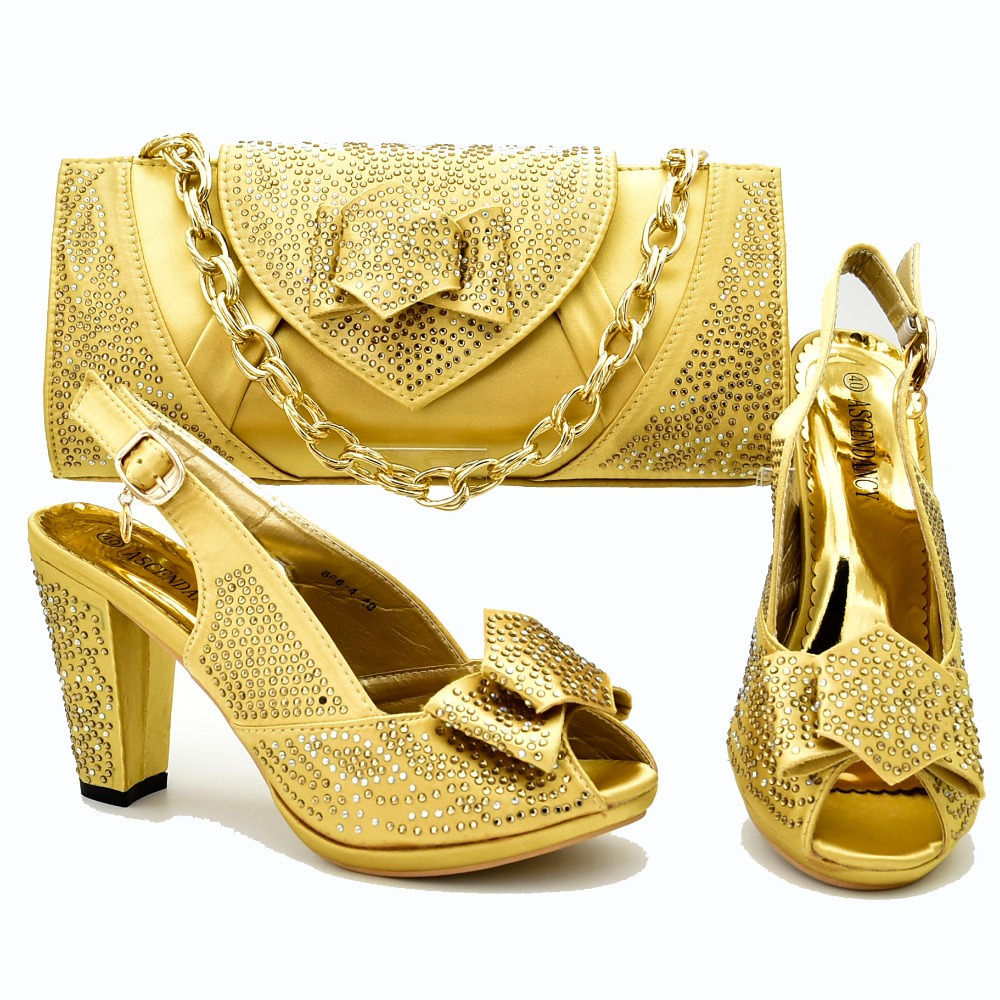 195e8e66fed0 Gold african aso ebi wedding party shoes and bag set matching italian shoes  and bag to