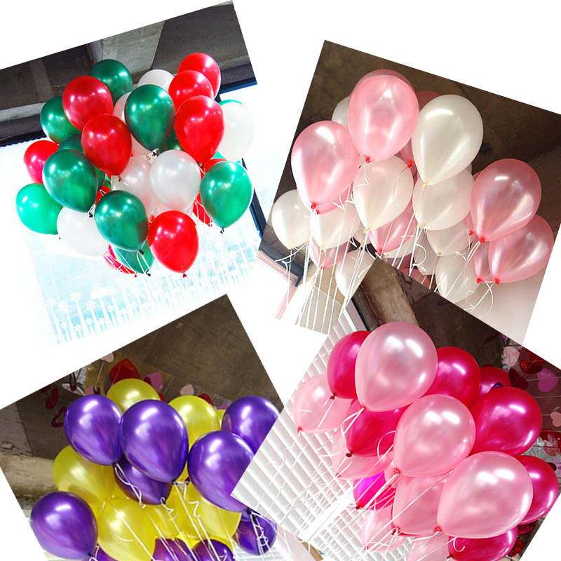 50pcs/lot Wedding Latex balloons birthday 10inch R love Party ballons helium Ball kids toys child transparent red gold balloons(China)