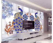 Custom high-level wallpaper 3d luxury European style peacock jewelry flowers TV backdrop wall for walls 3 d paper
