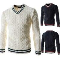 SHABIQI брендовая одежда, мужской свитер, модный осенний однотонный облегающий пуловер, мужские повседневные свитера и пуловеры с v-образным вы...