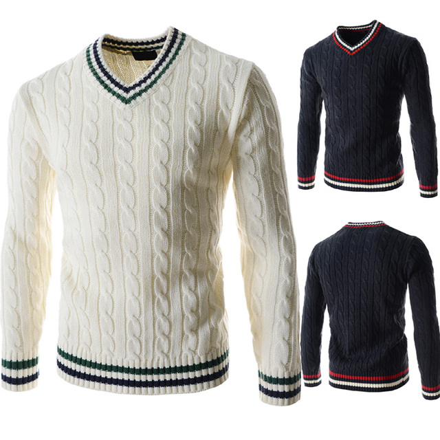 Men Sweater Fashion Autumn Solid Slim Fit Pullovers Men's V-Neck Casual Sweaters and Pullovers SIZE M-XXL