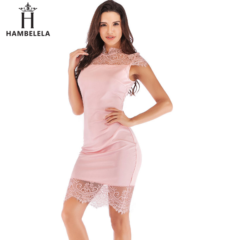 ... HAMBELELA Women Short Sleeve Lace Patchwork Bandage Dress Elegant Knee  Length Midi Pencil Bodycon Dress Sexy ... f703408c16f7