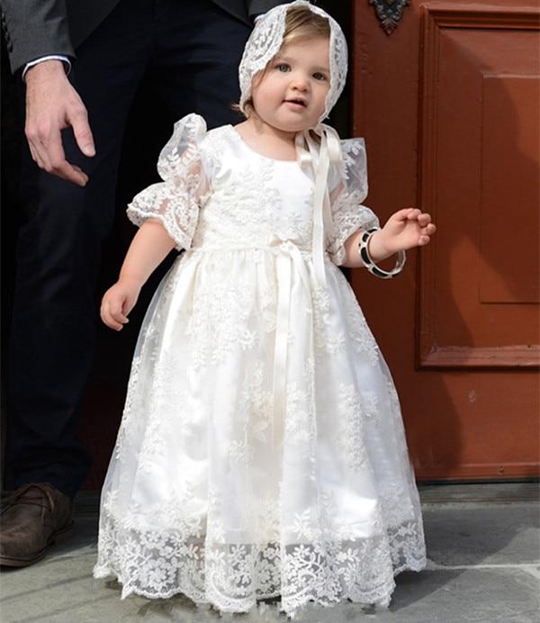 купить Lace Tulle Custom Made Christening Gown for Baby Girls 2018 Infant Cute Baptism Dress White Ivory по цене 5749.19 рублей