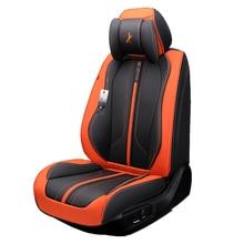 Чехол для сиденья автомобиля(передняя+ задняя), Новая универсальная подушка для сиденья, кожа старшего возраста, в стиле спортивного автомобиля, автомобиль-Стайлинг для седан SUV