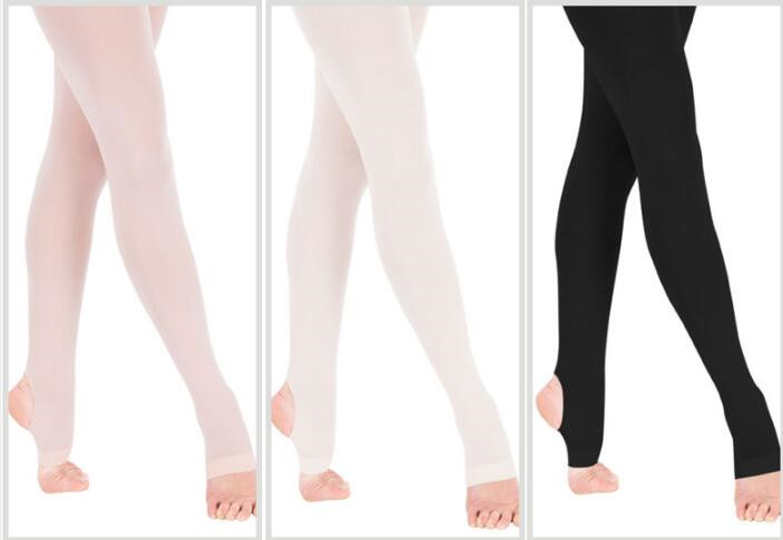 SALE BALLET FULL FOOT TIGHTS IN PINK AND WHITE 3-13 YEARS