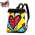ROMERO BRITTO Printing Backpack 2017 Fashion Men&Women Backpacks Graffiti Schoolbag Casual Satin & PU  Bags For Girls  teenagers